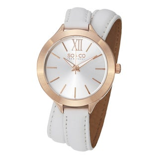 SO&CO New York Women's SoHo Quartz Watch with White Leather Wraparound Band