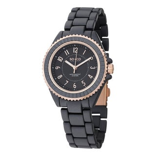 SO&CO New York Women's SoHo Quartz Black Watch with Aloy Link Bracelet