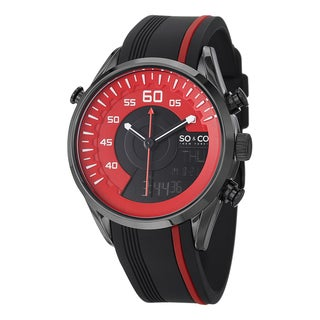 SO & CO New York 46mm Monticello Quartz Black and Red Watch with Rubber Strap
