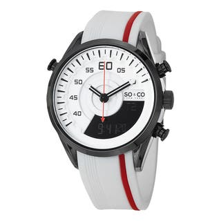 SO&CO New York Men's Monticello Digital Quartz White and Red Watch with Rubber Strap https://ak1.ostkcdn.com/images/products/10108348/P17248376.jpg?impolicy=medium