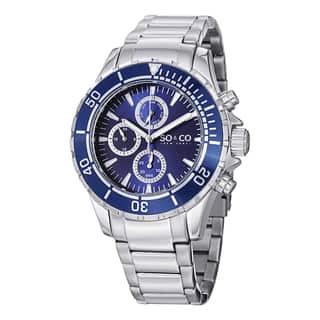 SO&CO New York Men's Yacht Club Quartz Day and Date Quartz Stainless Steel Bracelet Watch|https://ak1.ostkcdn.com/images/products/10108350/P17248381.jpg?impolicy=medium