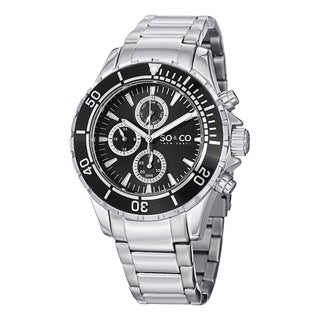 SO&CO New York Men's Yacht Club Quartz Unidirectional Watch with Stainless Steel Link Bracelet