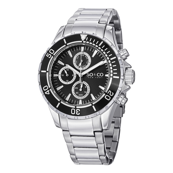 SO&CO New York Men's Yacht Club Quartz Unidirectional Watch with Stainless Steel Link Bracelet - Silver