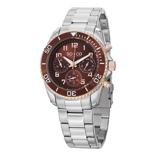 SO&CO New York Men's Quartz Yacht Club Multifunction Watch with Stainless Steel Link Bracelet
