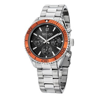 SO&CO New York Men's Quartz Yacht Club Multifunction Uniderectional Watch with Stainless Steel Bracelet