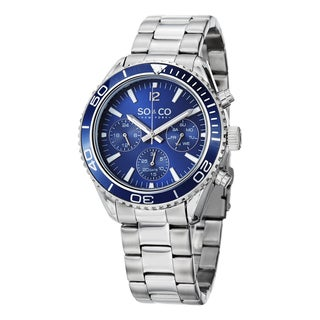 SO&CO New York Men's Quartz Yacht Club Multifunction Uniderectional Watch with Stainless Steel Bracelet - Silver