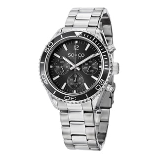 SO&CO New York Men's Quartz Yacht Club Multifunction Uniderectional Watch with Stainless Steel Link Bracelet