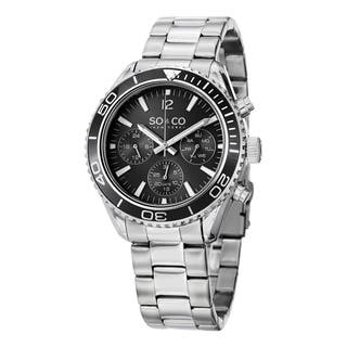 SO&CO New York Men's Quartz Yacht Club Multifunction Uniderectional Watch with Stainless Steel Link Bracelet|https://ak1.ostkcdn.com/images/products/10108355/P17248392.jpg?impolicy=medium