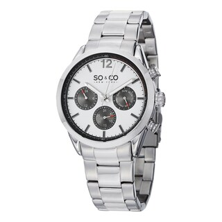 SO&CO New York Men's Monticello Quartz Multifunction Watch with Stainless Steel Bracelet