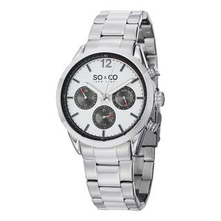 SO&CO New York Men's Monticello Quartz Multifunction Watch with Stainless Steel Bracelet|https://ak1.ostkcdn.com/images/products/10108373/P17248398.jpg?impolicy=medium