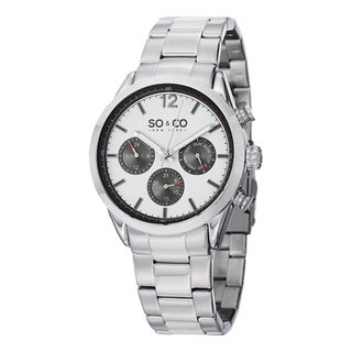 SO&CO New York Men's Monticello Quartz Multifunction Watch with Stainless Steel Bracelet - Silver