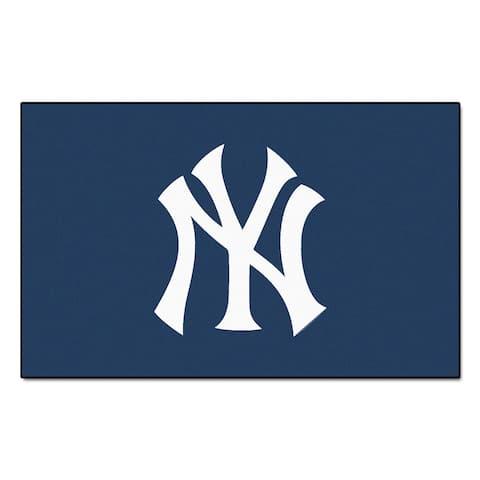 Fanmats Machine-made New York Yankees Blue Nylon Ulti-Mat (5' x 8')