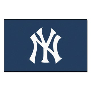 Fanmats Machine-made New York Yankees Blue Nylon Ulti-Mat (5' x 8')