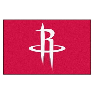 Fanmats Machine-made Houston Rockets Black Nylon Ulti-Mat (5' x 8')