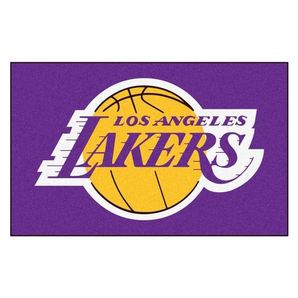 Fanmats Machine-made Los Angeles Lakers Black Nylon Ulti-Mat (5' x 8')