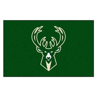 Fanmats Machine-made Milwaukee Bucks Black Nylon Ulti-Mat (5' x 8')