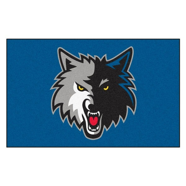Fanmats Machine-made Minnesota Timberwolves Black Nylon Ulti-Mat (5' x 8')