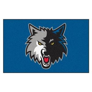 Fanmats Machine-made Minnesota Timberwolves Black Nylon Ulti-Mat (5' x 8')