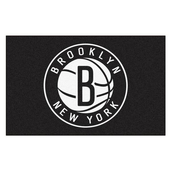 Fanmats Machine-made Brooklyn Nets Black Nylon Ulti-Mat (5' x 8')