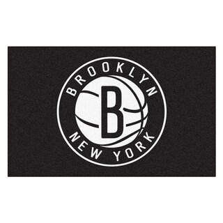 Fanmats Machine-made Brooklyn Nets Black Nylon Ulti-Mat (5' x 8')