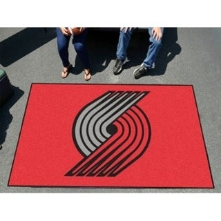 Fanmats Machine-made Portland Trailblazers Black Nylon Ulti-Mat (5' x 8')