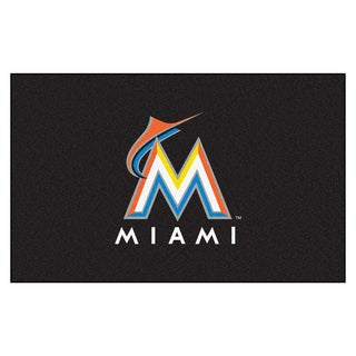 Fanmats Machine-made Florida Marlins Black Nylon Ulti-Mat (5' x 8')