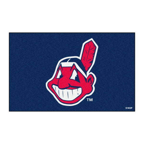 Fanmats Machine-made Cleveland Indians Blue Nylon Ulti-Mat (5' x 8')
