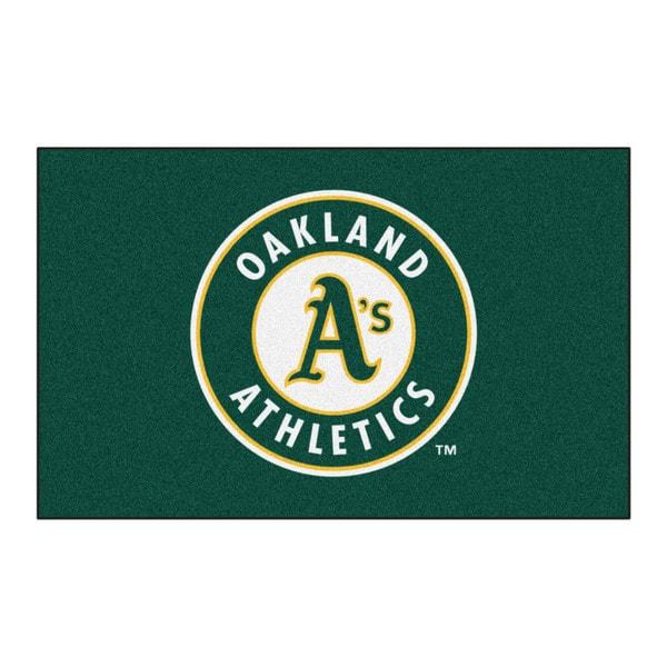 Fanmats Machine-made Oakland Athletics Green Nylon Ulti-Mat (5' x 8')