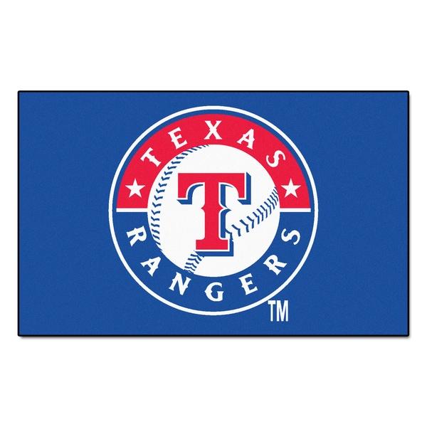 Fanmats Machine-made Texas Rangers Blue Nylon Ulti-Mat (5' x 8')