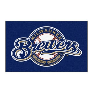 Fanmats Machine-made Milwaukee Brewers Blue Nylon Ulti-Mat (5' x 8')