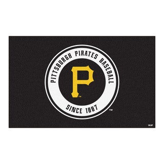 Fanmats Machine-made Pittsburgh Pirates Black Nylon Ulti-Mat (5' x 8')
