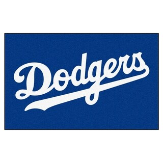 Fanmats Machine-made Los Angeles Dodgers Grey Nylon Ulti-Mat (5' x 8')
