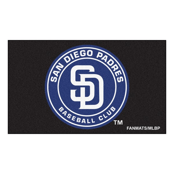 Fanmats Machine-made San Diego Padres Black Nylon Ulti-Mat (5' x 8')