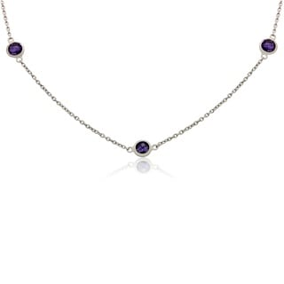 Sterling Silver Amethyst Chain Necklace