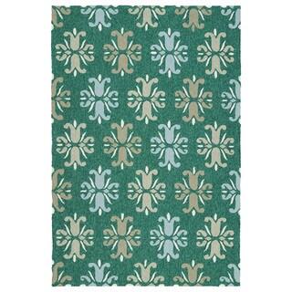 Indoor/Outdoor Handmade Getaway Emerald Medallions Rug (4'0 x 6'0) - 4' x 6'