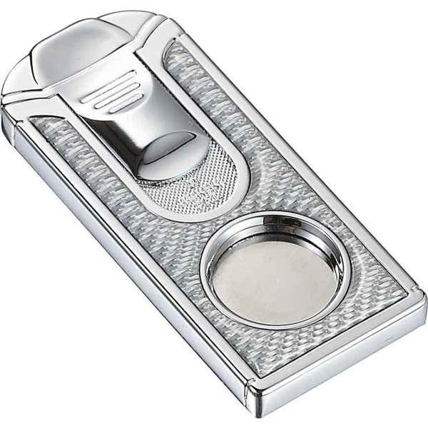 Visol Razor White Carbon Fiber Stainless Steel Cigar Cutter