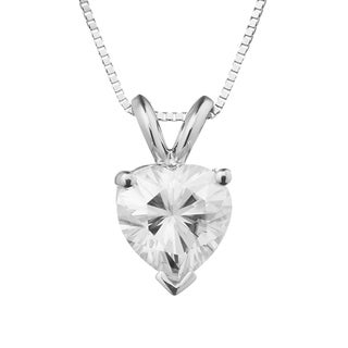 Charles & Colvard 14k White Gold 1.20 TGW Heart Forever Brilliant Moissanite Drop Pendant