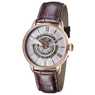Stuhrling Original Men's Delphi Automatic Leather Strap Watch