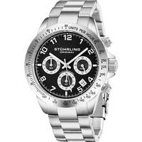 Stuhrling Original Men's Concorso Quartz Leather Strap Watch - silver