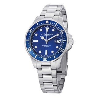 Stuhrling Original Men's Aquadiver Quartz Stainless Steel Bracelet Watch - silver