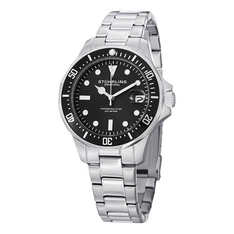 Stuhrling Original Men's Aquadiver Quartz Stainless Steel Bracelet Watch - silver