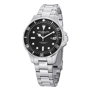 Stuhrling Original Men's Aquadiver Quartz Stainless Steel Bracelet Watch