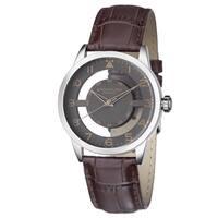 Stuhrling Original Men's Aviator Japan Quartz Leather Strap Watch - brown