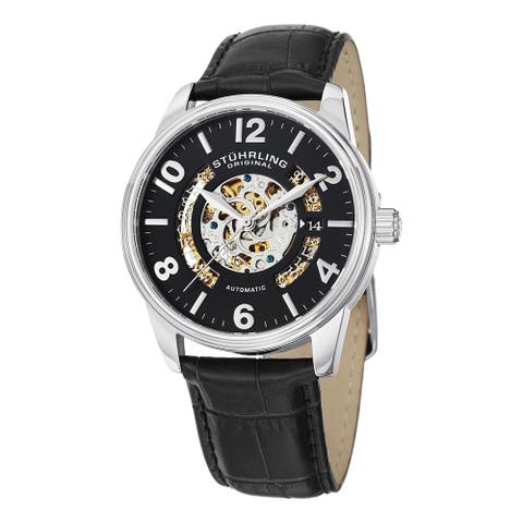 Stuhrling Original Men's Legacy Automatic Leather Strap Watch - black