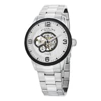 Stuhrling Original Men's Delphi Automatic Leather Strap Watch - silver
