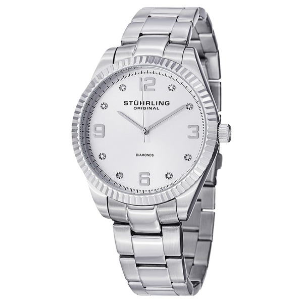 Stuhrling Original Men's Allure Swiss Quartz Stainless Steel Bracelet Watch - silver