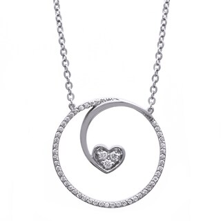 Beverly Hills Charm Sterling Silver 1/5ct TDW Diamond Floating Heart Necklace (H-I, I2-I3)