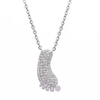 Beverly Hills Charm Sterling Silver 1/4ct TDW Diamond 'Little Baby Feet' Necklace (H-I, I2-I3)