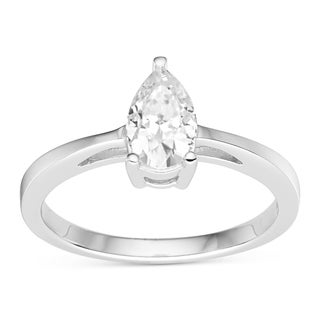Charles & Colvard 14k White Gold 0.94 TGW Pear Forever Brilliant Moissanite Solitaire Ring