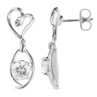 Charles & Colvard 14k White Gold 1.20 TGW Round Forever Brilliant Moissanite Drop Earrings